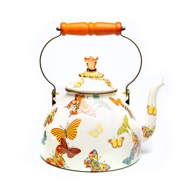Butterfly Garden 2 Quart Tea Kettle - White