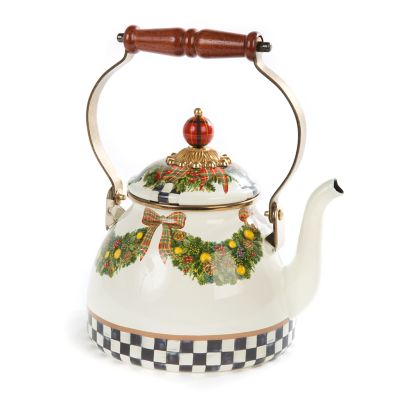 Evergreen Enamel Tea Kettle - 2 Quart
