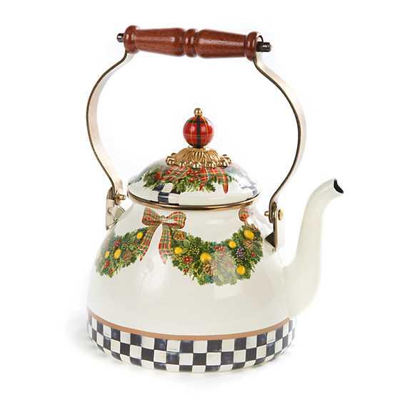 Mackenzie Childs Evergreen Enamel Tea Kettle 2 Quart