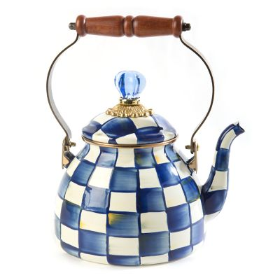 A Charming Kettle With Steel Underbody Covered In Hand Painted Checkerboard Juxtaposition Of Ivory And Onyx Bronzed Stainless