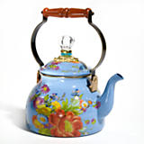 Flower Market Enamel 2 Quart Tea Kettle - Blue