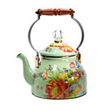 Flower Market Enamel 2 Quart Tea Kettle - Green