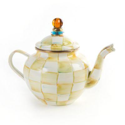Parchment Check Enamel Teapot - 4 Cup
