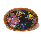 Flower Market Small Rattan & Enamel Tray - Black