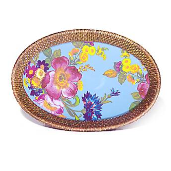 Flower Market Small Rattan & Enamel Tray - Blue