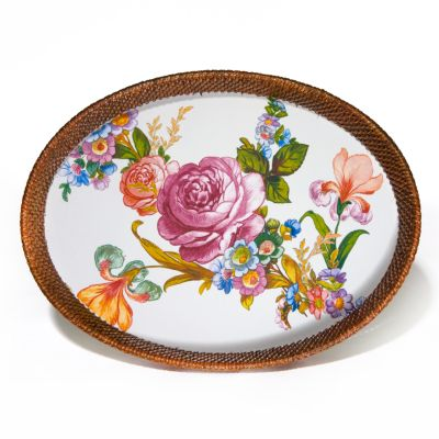 Flower Market Large Rattan & Enamel Tray - White