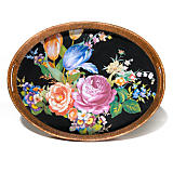 Flower Market Rattan & Enamel Party Tray - Black