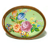 Flower Market Rattan & Enamel Party Tray - Green