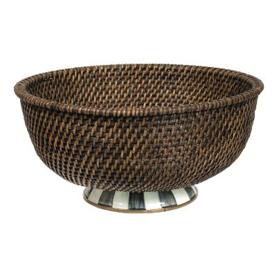 Courtly Check Rattan & Enamel Bowl