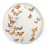 Butterfly Garden Round Tray - White
