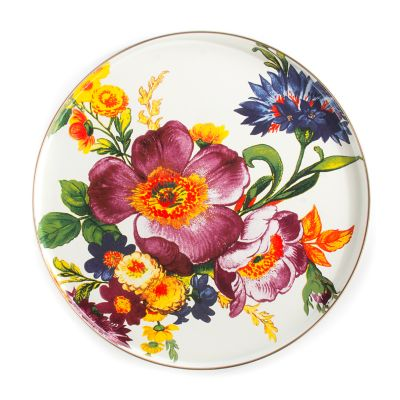 Flower Market Round Tray - White