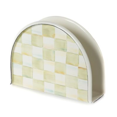 Parchment Check Enamel Napkin Holder