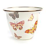 Butterfly Garden Large Flower Pot - White