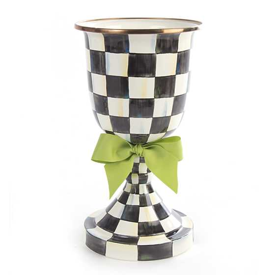 Courtly Check Enamel Pedestal Vase - Green Bow