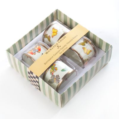 Butterfly Garden Napkin Rings -White - Set of 4