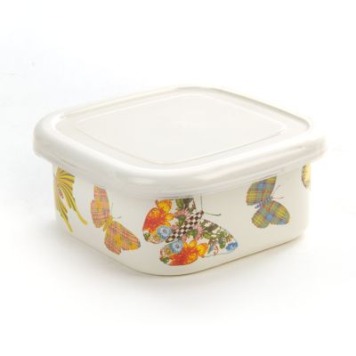 Butterfly Garden Small Squarage Bowl - White