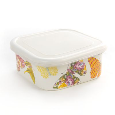 Butterfly Garden Medium Squarage Bowl - White
