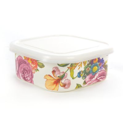 Flower Market Medium Squarage Bowl - White