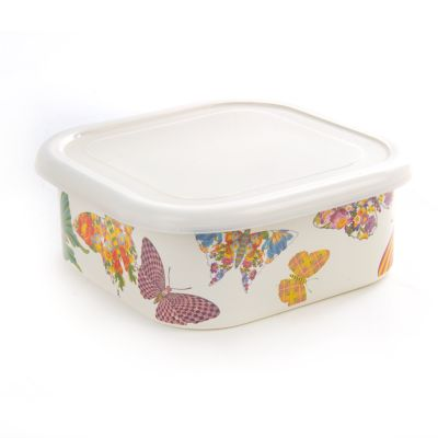 Butterfly Garden Large Squarage Bowl - White