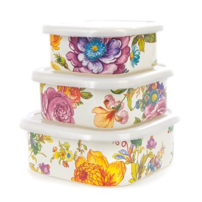 Flower Market Squarage Bowls - White - Set of 3