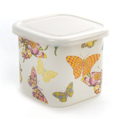 Butterfly Garden Deep Small Squarage Bowl-White
