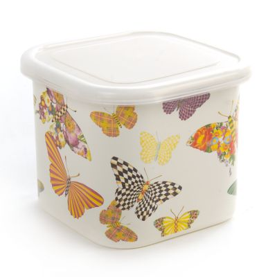 Butterfly Garden Deep Medium Squarage Bowl-Whit