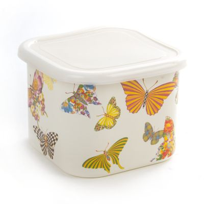 Butterfly Garden Deep Large Squarage Bowl-White