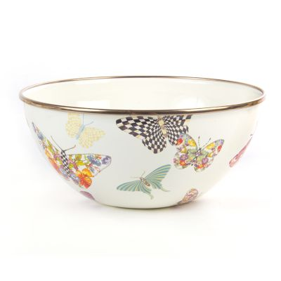 Butterfly Garden Small Everyday Bowl - White