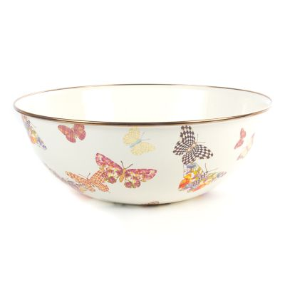 Butterfly Garden Extra Large Everyday Bowl - White