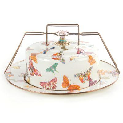 Butterfly Garden Cake Carrier - White