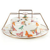 Butterfly Garden Enamel Cake Carrier - White