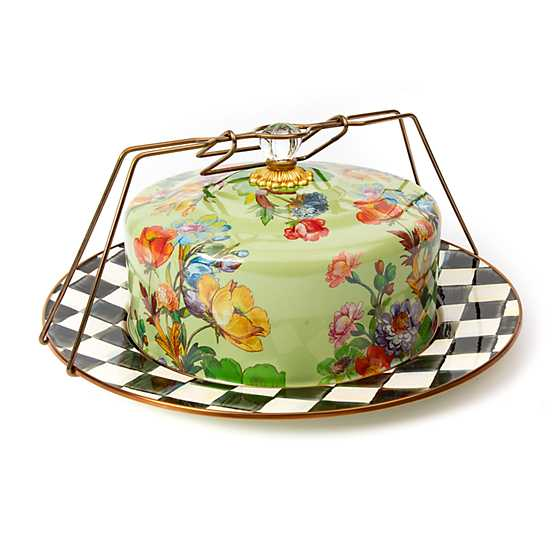 Mackenzie Childs Flower Market Cake Carrier Green