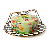 Flower Market Enamel Cake Carrier - Green