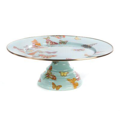 Butterfly Garden Pedestal Platter - Sky