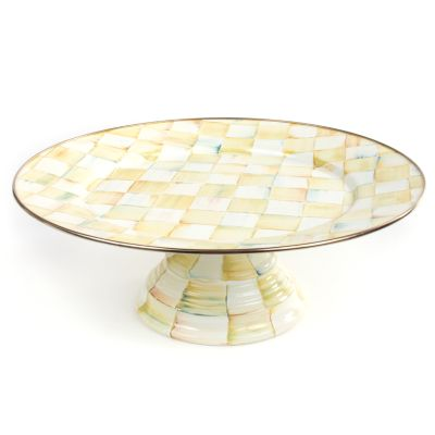Parchment Check Enamel Pedestal Platter - Large
