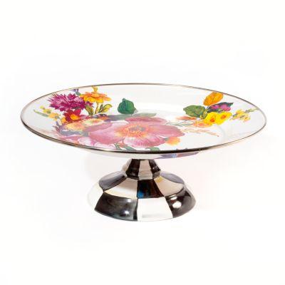 Flower Market Small Pedestal Platter - White