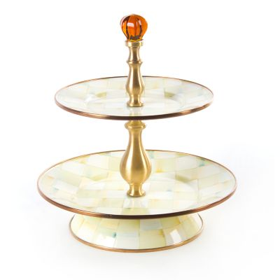 Parchment Check Enamel Two Tier Sweet Stand