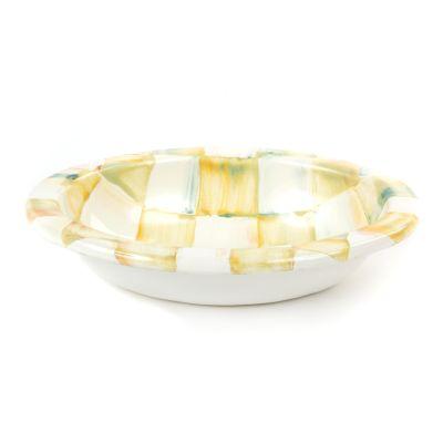 Parchment Check Enamel Soap Dish