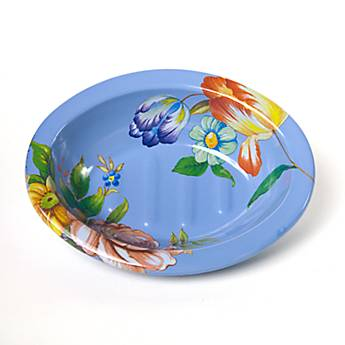 Flower Market Enamel Soap Dish - Blue