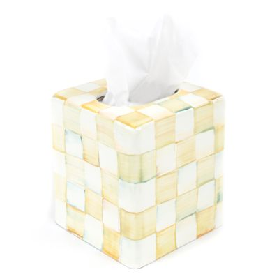 Parchment Check Enamel Boutique Tissue Box Cover