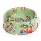 Flower Market Large Enamel Pet Dish - Green
