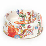 Flower Market Large Enamel Pet Dish - White
