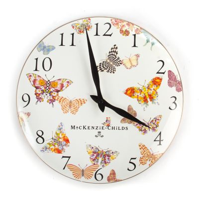 Butterfly Garden Clock - White