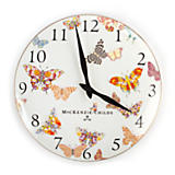 Butterfly Garden Clock - White