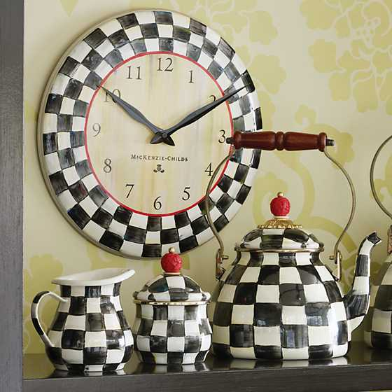 Mackenzie childs courtly check enamel clock for Mackenzie childs kitchen ideas