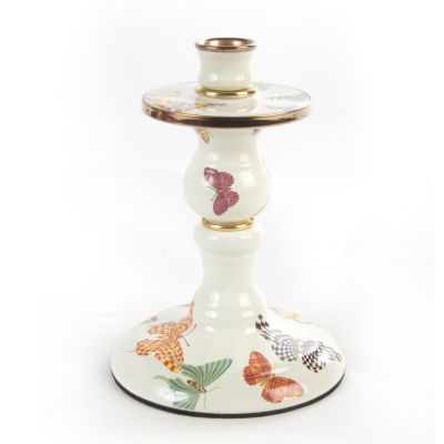 Butterfly Garden Small Candlestick - White