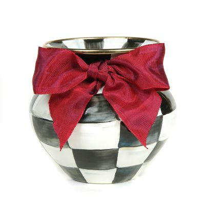 Courtly Check Enamel Vase - Red Bow