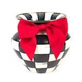 Courtly Check Enamel Large Vase - Red Bow
