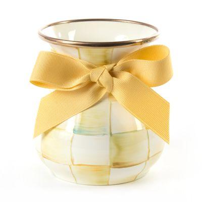 Parchment Check Enamel Vase - Short