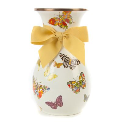 Butterfly Garden Tall Vase - White